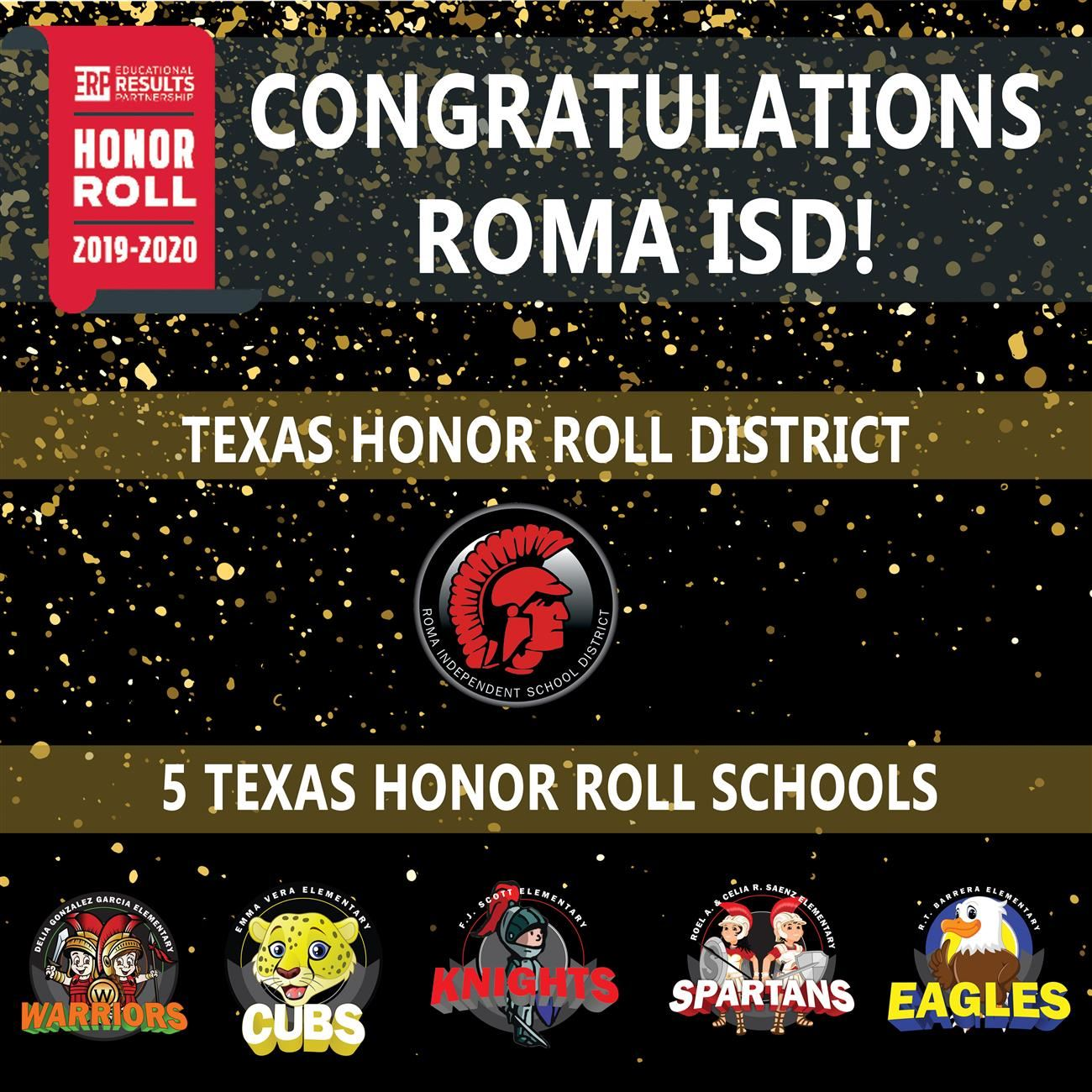 Roma ISD Named Texas Honor Roll District for 5th Consecutive Time, Five Roma ISD Schools Honored for Academic Excellence